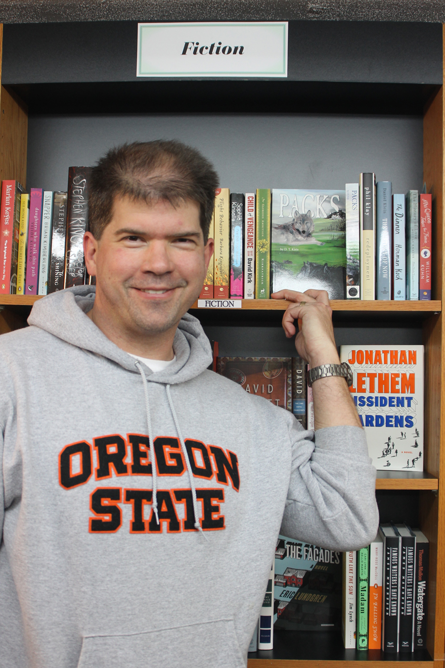 Ed Wollert in OSU sweater at the bookstore